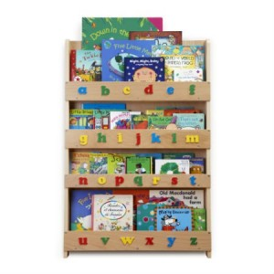 Tidy books bookcase with lowercase letters