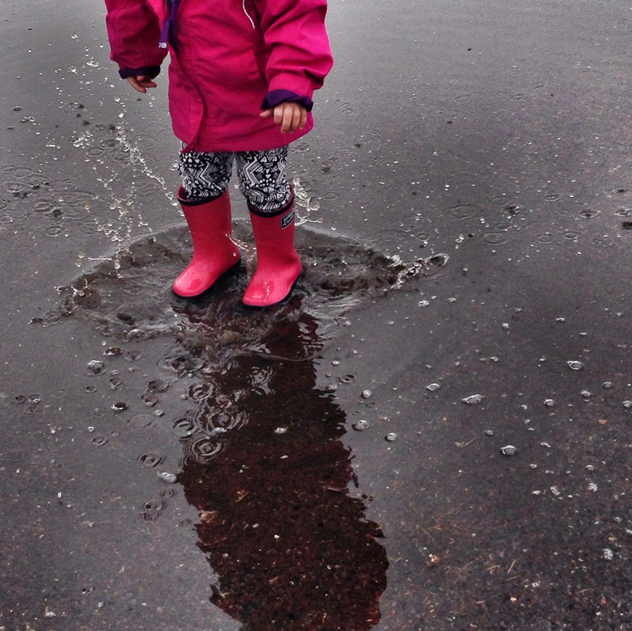 Although it felt harsh to crop my own daughter's face out, that 'magic moment' was the splash and the colour of the boots. I used the 'Drama' filter in Snapseed and then sharpened it