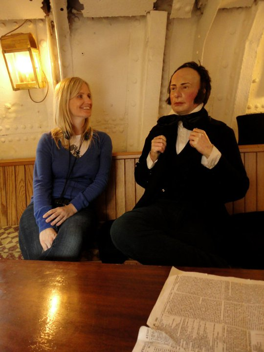 Chatting to Brunel waxwork on the SSGB