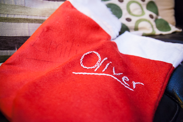 Hand embroidery on christmas stockings by Jo from Jem sewing alterations in Maidenhead