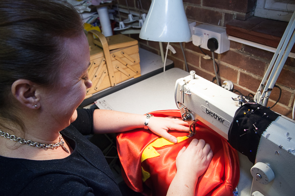Jo from Jems sewing alterations making a super hero cape