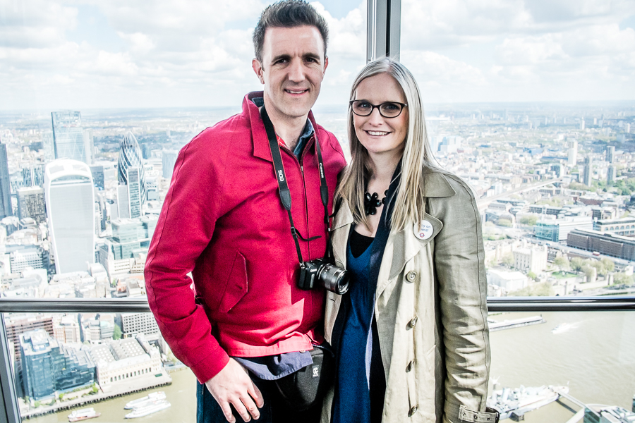 Couple celebrating their first wedding anniversary at The Shard