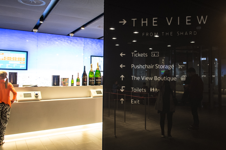 Inside the reception area at The Shard