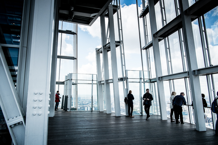 The viewing platform on the 72nd floor at The Shard is open to the elements