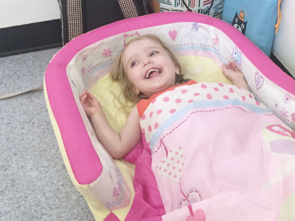 a camp bed for kids helps take the pressure off a long term stay in hospital