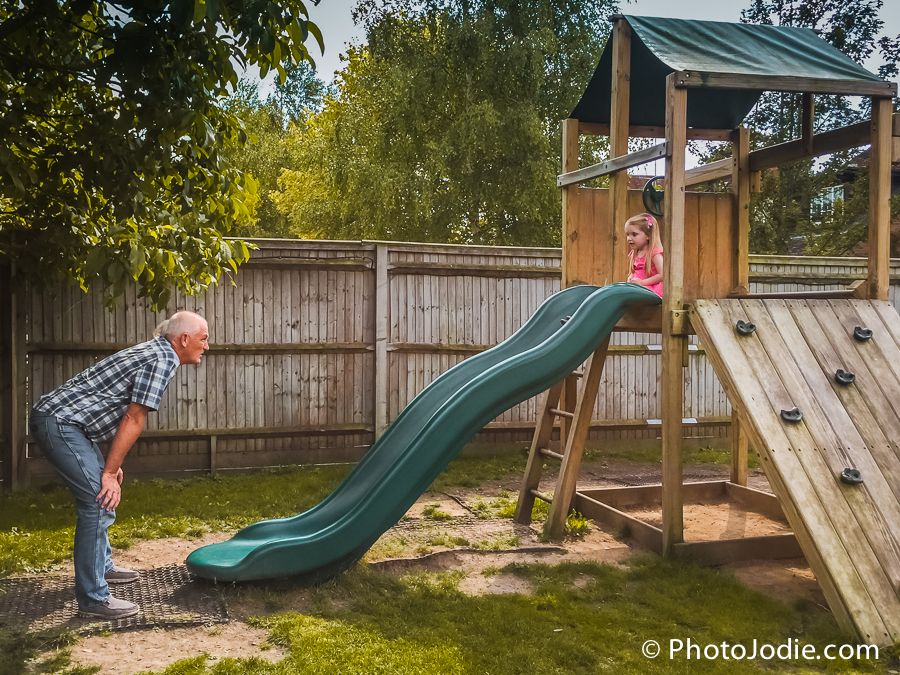 The slide and climbing frame in the garden at the Walnut Tree