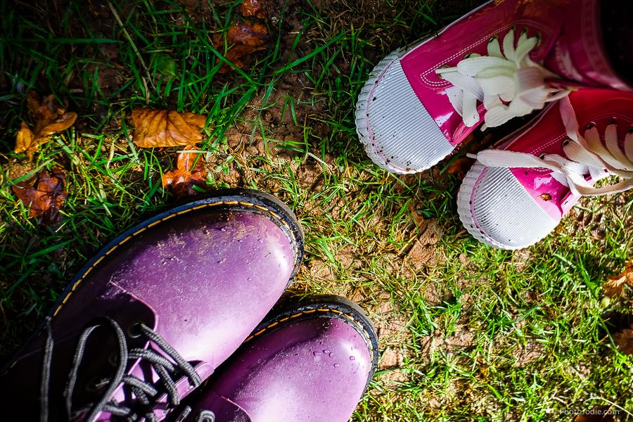 Wellies on the ground to explore autumn