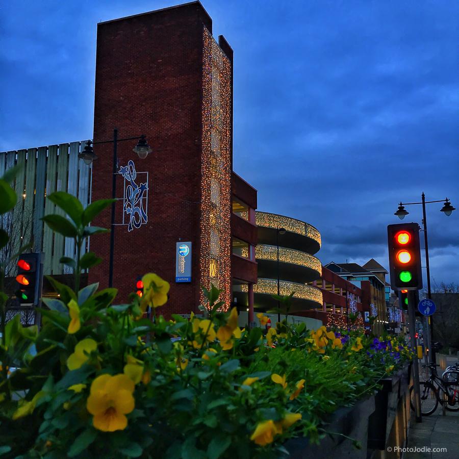 Maidenhead car park lit up at night