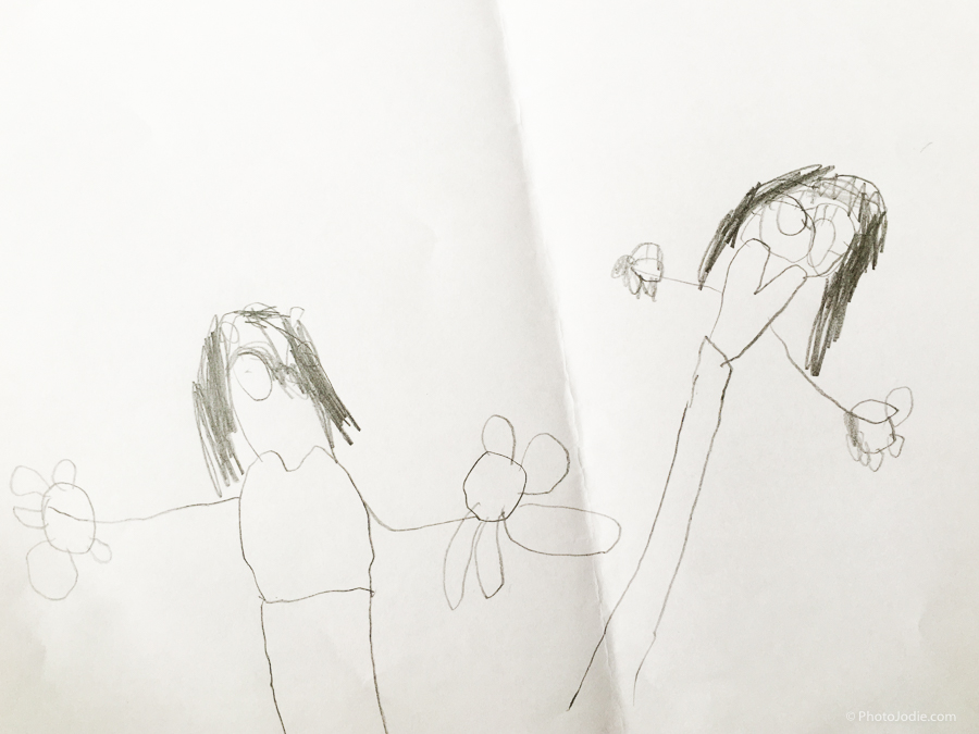 Child's drawing of mummy and daughter
