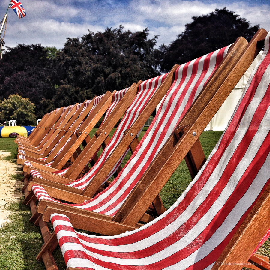 Deckchairs in the park at Maidenhead festival