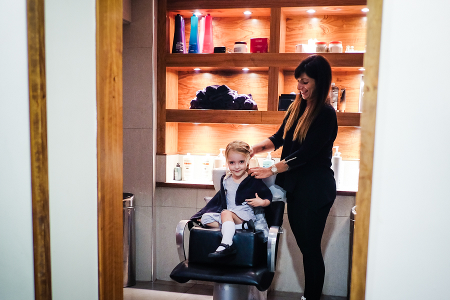 Being brave enough to go and have her hair washed in a 'grown-up' chair all on her own. (Apart from Paparazzi mum sneaking around the corner!)