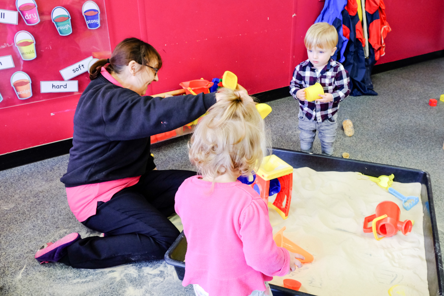 Sand play at Co-op Nursery Maidenhead