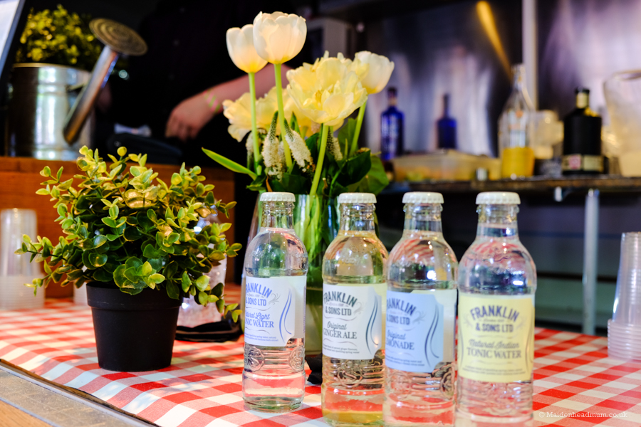 gin and tonic in the Artisan Food market at the chelsea flower show