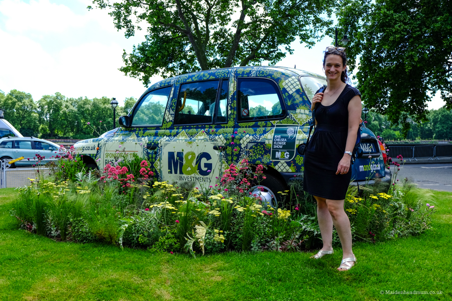 M&G taxi at The Chelsea Flower Show