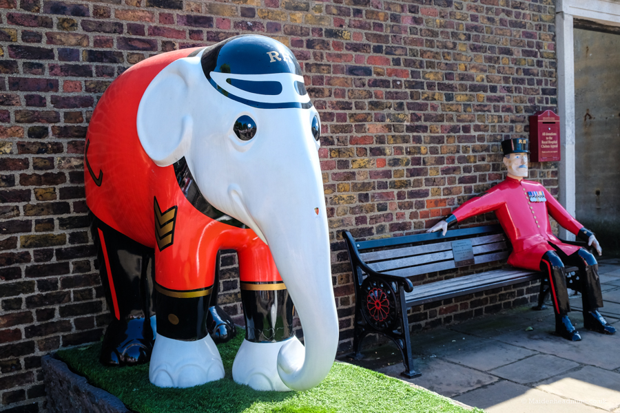Elephant and soldier at The Chelsea Flower Show