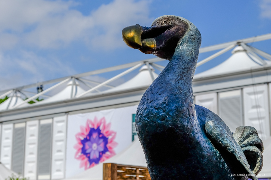 a dodo sculpture outside the Great Pavilion at the Chelsea Flower Show