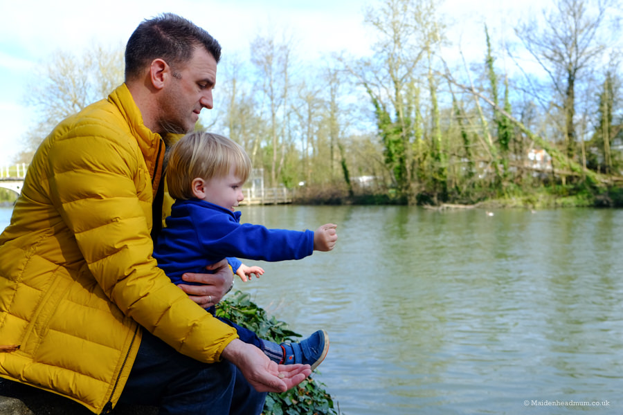feeding the ducks and geese in Guards Club Park: children's activities in Maidenhead