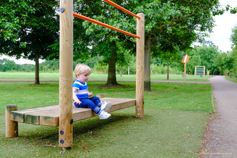Child at fitness trail in Ockwells park Maidenhead