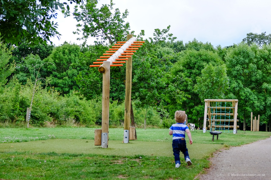 Child on fitness trail at Ockwells Park in Maidenhead