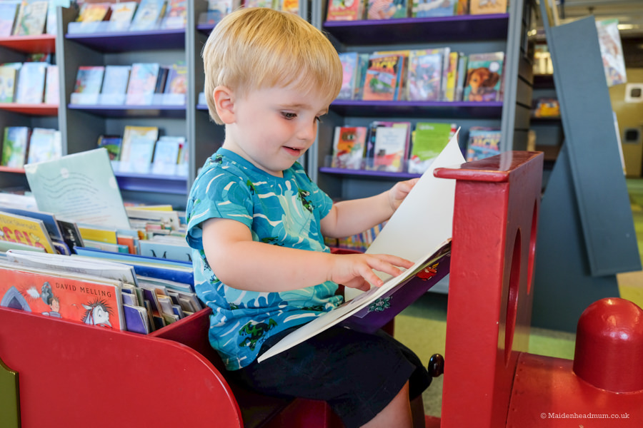 toddler on the train at Maidenhead library