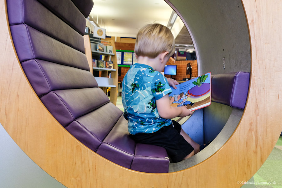 toddler Learning to read at maidenhead library