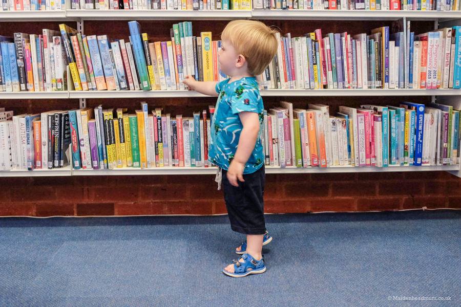 toddler in the library in Maidenhead
