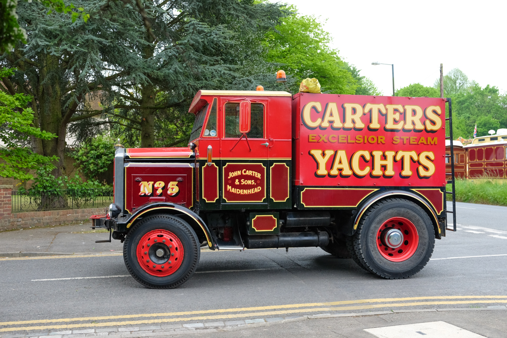 a red truck in the carters steam fair road run