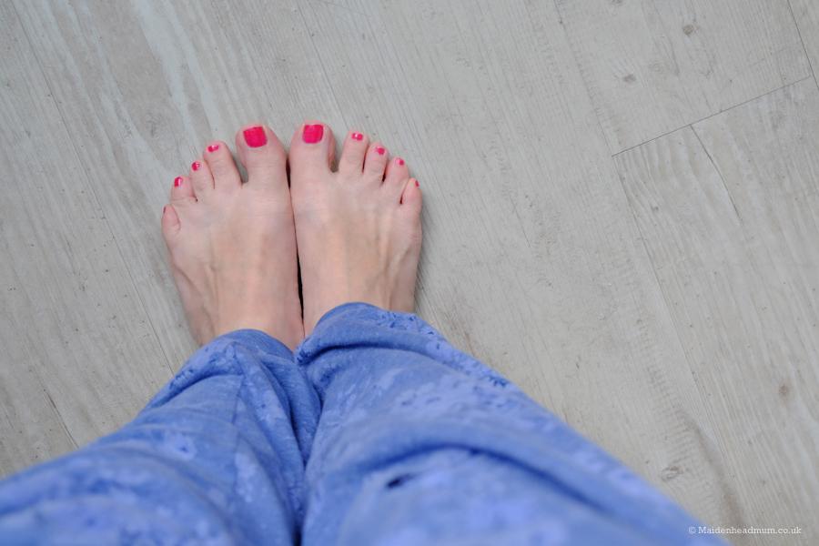 bare feet on floor at the Qbic Hotel London