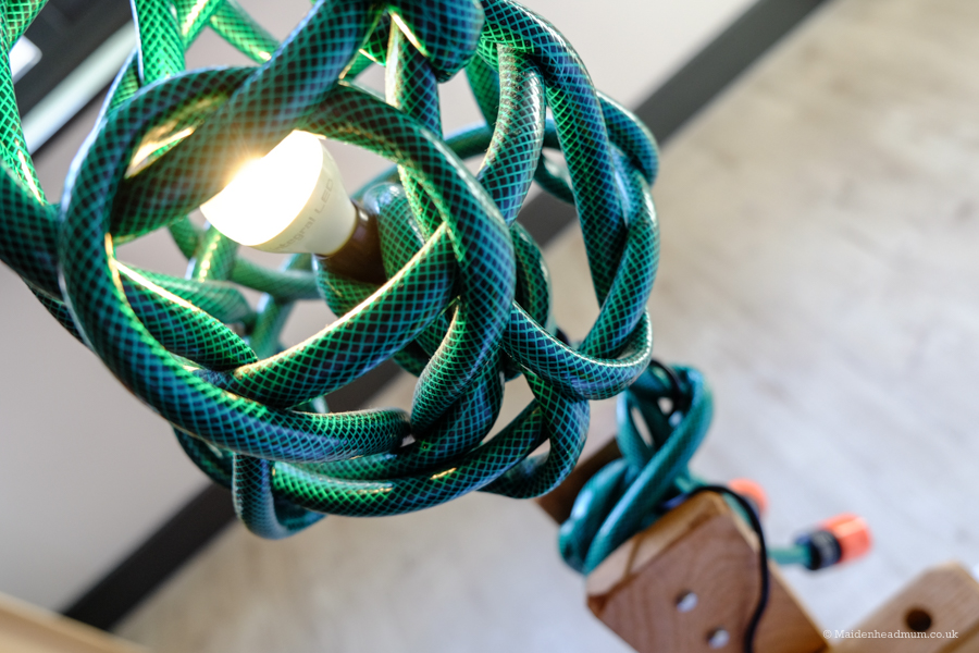 A lamp made from a hose pipe at the Qbic Hotel London