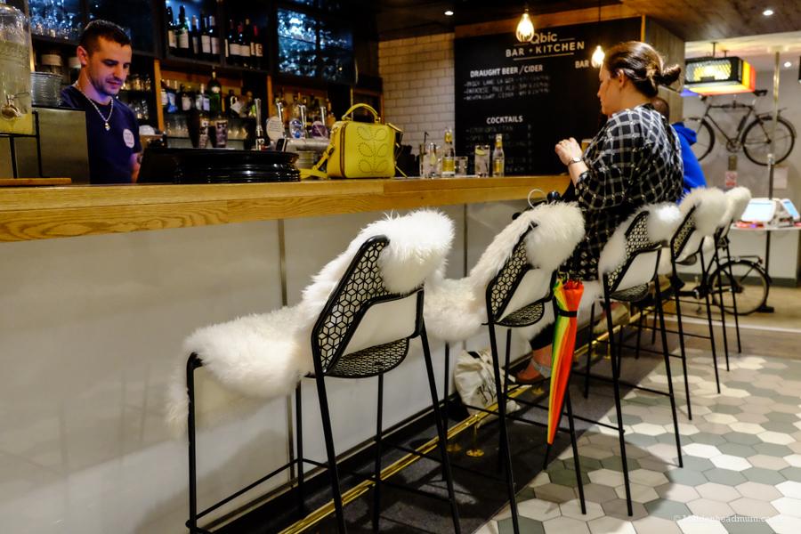 Bar area at the Qbic Hotel London