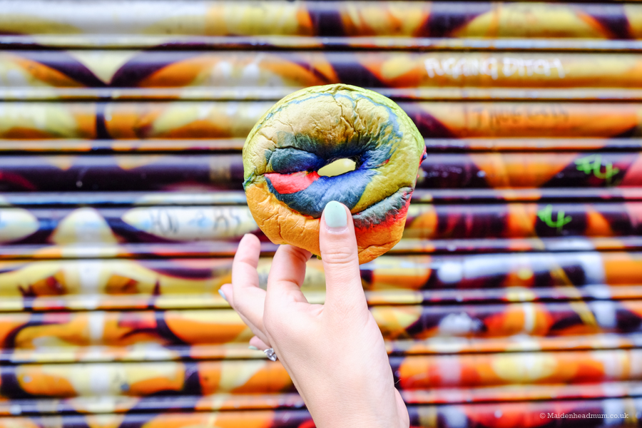 Rainbow bagel in Brick Lane