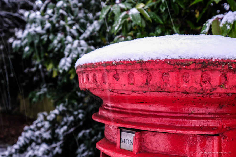 Post box in the snow, UK