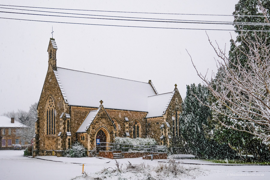 St Mark's church in Maidenhead in the snow