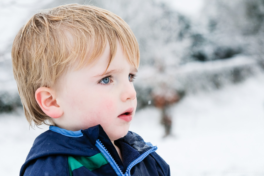 portrait of boy on the snow