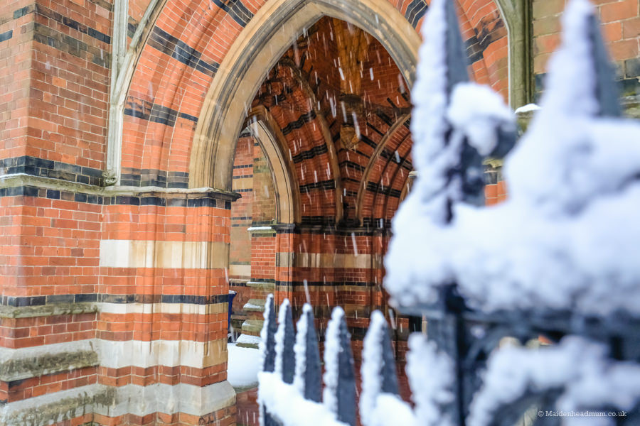 Snow in the archway All saints church